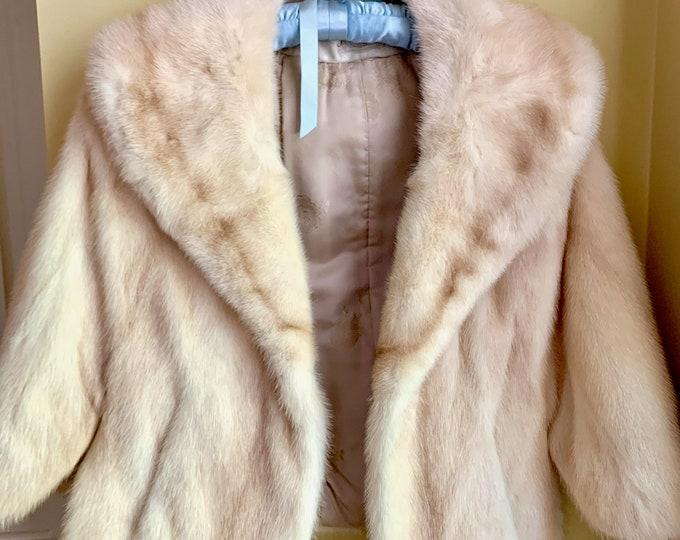 Featured listing image: Blond Mink Cape, Vintage Oleg Casseni Mink Stole Wrap, Wedding Bridal Champagne Mink Capelet, Holiday Evening Wear