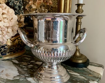 Silver Plate Champagne Bucket, Trophy Monogrammed Award Wine Cooler, Vintage Silver Plate French Style Wine Bucket, Flower Vase,