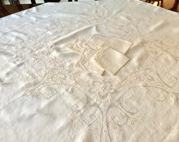 Featured listing image: Ecru Tablecloth Napkin Set,  Embroidered Drawnwork Square Tablecloth 6 Napkins, Table Topper, Table Centerpiece Linen, French Country