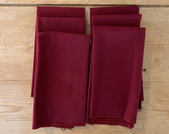 Large Burgundy Napkins, Set of 6 Holiday Dinner Napkins, Vintage Holiday Linens, Burgundy Holiday Napkins, 18 Inch Napkins