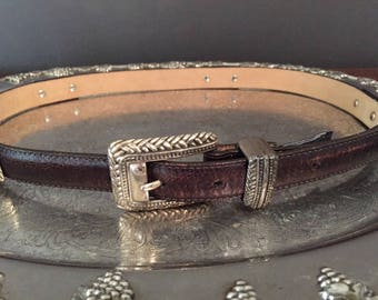 Brighton Medium Size Belt, Chocolate Leather, Vintage Women's Belts, Women's Accessories, Made In USA, Women's Fashion, Vintage Belts