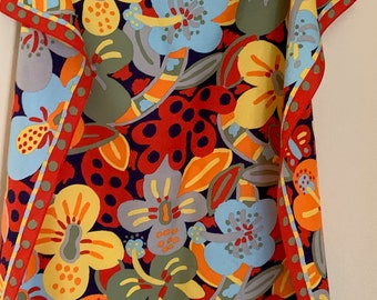 Ken Done Silk Scarf, Vintage 80's Colorful Floral Scarf, Women's Fashion