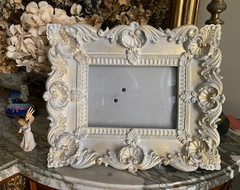 French Style Photo Frame, Hand Painted Gray Gold Wash Picture Frame, 4.5 x 6.5 Image, Photo Frame Gift Idea, Shabby Cottage Picture Frame