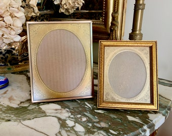 Brass and Wood Picture Frames, Vintage Photo Frames with Engraved Metal Mat, Oval Image, Larger Frame Available