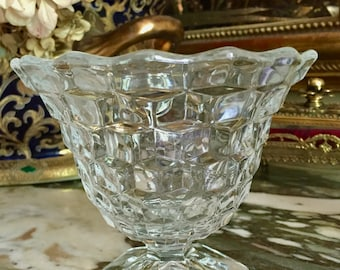 Fostoria American Clear  Bowl, Clear Cubed Footed Condiment Compote, Fostoria Mayo Bowl, Footed Flared Opening, Cottage Farmhouse