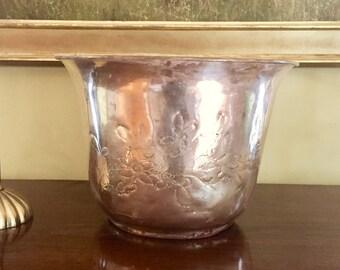 Brass Planter, Vintage Brass Engraved Flower Container, Indoor Flower Planter, Decorative Brass Decor, Medium Size Brass Planter