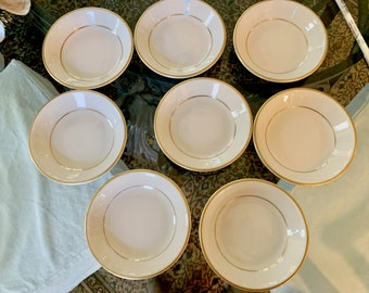 Jackson China Small Berry Bowls, Set of 8 Dipping Bowls, White with Gold Rim, Vintage White Fruit Bowls, Dessert Bowls, Sold as Set of 8