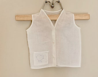 Infant Boy Shirt, White Batiste with Blue Embroidered Pocket, Vintage 1960's Baby Boy Vest, Doll Clothing, Baby Gift Idea