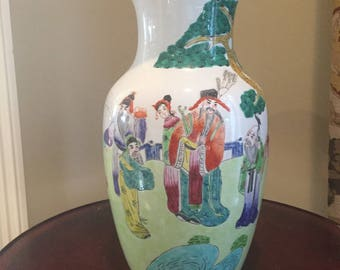 Large Asian Vase, Vintage Hand Painted Chinese 15 Inch Vase,Chinoiserie Decor, Large Accent Centerpiece Asian Vase
