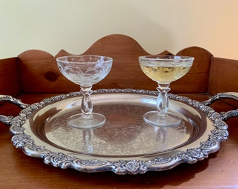 Pair Crystal Champagne Coupes, Mid Century Etched Champagne Coupes, Toasting Coupes, Wedding Champagne Coupes