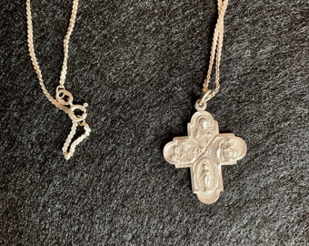 Sterling Silver Religious Cross with Chain, Vintage Sterling Silver Chain,  24 Inch Chain, Catholic Cross Gift Idea,