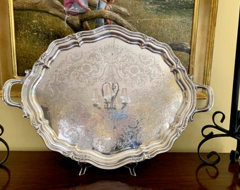 Oval Silver Butler's Tray, Reed and Barton Large Silver Plate Serving Tray Winthrop Pattern, 26 Inch Handled Tray, Chased Silver Tray