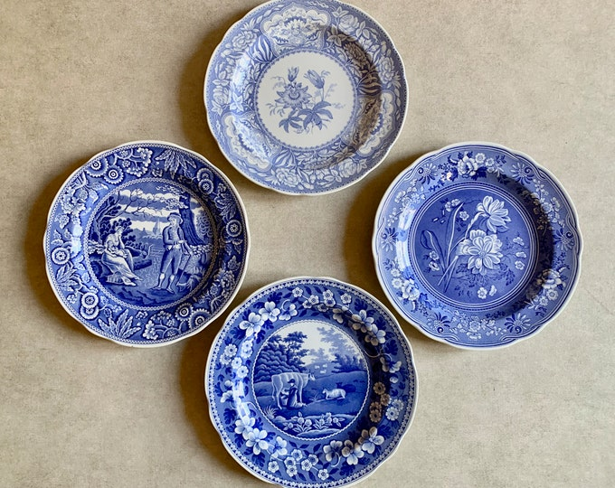 Featured listing image: Spode Blue Room Plate Collection, Set of 4 Plates, English Blue Transferware Plates, Milkmaid, Botanical, Floral, Woodman, Blue White Decor