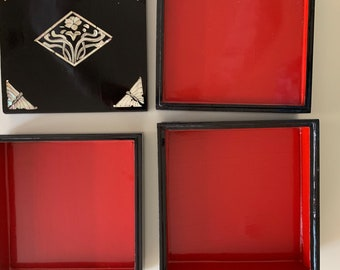 Black Lacquered Jubako Box with Red Interior, Mother of Pearl Inlaid Design, Asian Black Red Lacquered Stack Box, 3 Compartments,