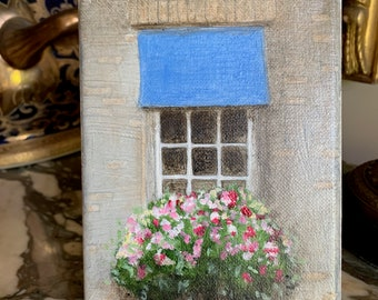 Original Oil Painting 5 x 7 Floral, Blue Canopy with Window Box, Small Easel Included, Mothers Day gift, Art Lover Gift, Flower Lover Gift