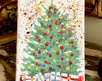 Christmas Tree Painting, Original 5 x 7 Painting with Small Easel, Contemporary Holiday Painting, Gallery Wrapped, Christmas Decor Gift