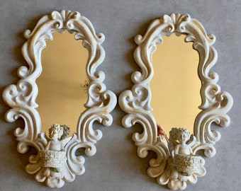Cherub Wall Candle Sconces, Resin Angel Sconces with Mirror, Pair of Wall Candle Holder Sconces Shabby Cottage Chic Decor