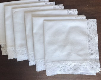 Linen Lace Napkins Set of 6, White Dinner Napkins 16 Inch, Cottage Farmhouse Table Linens