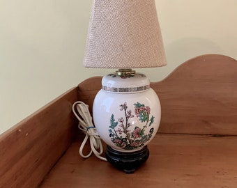 Indian Tree Pattern Lamp, Vintage Ginger Jar Mini Lamp, English Indian Tree Lamp, Chinoiserie Asian Decorative Table Lamp