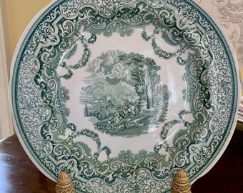 Spode Archive Collection Green Transferware Plate, Victorian Series Continental Views Plate, English Green White Dinner Plate