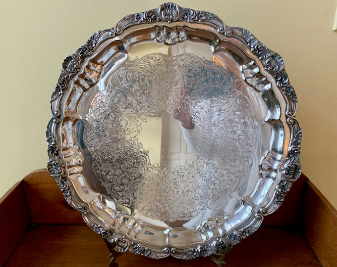 Featured listing image: Round Silver Plate Footed Tray,  Vintage Poole Silver Company Footed Round Serving Tray,  Chased Scroll Design, Silver Barware Tray