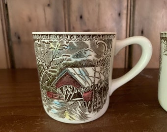Friendly Village Mug, Old Mill Pattern Johnson Brothers Transferare, Old Covered Bridge Image, Made in England with Design on Handle