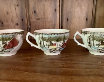 3 Friendly Village Tea Cups Coffee Cups, Johnson Brothers Made in England, Sold as Set 3,  Slight Vintage Wear