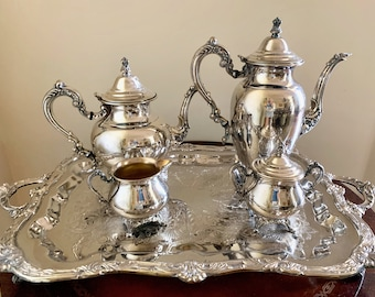 Silver Service Coffee Tea Set, Oneida Silver Plate Coffee Service Set with Tray,  International Silver Plate Tray, Silver Service