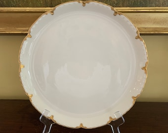 Haviland Limoges Round Chop Plate, White with Gold Trim 12.75 Inch Round Platter, French China, Limoges White Gold Serving Tray