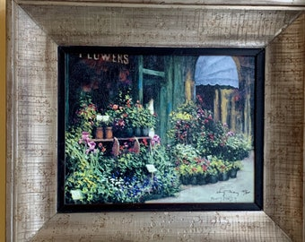 Vintage Impressionistic Flower Shop Art Print, Framed Signed Blue Canopy Flower Shop, Image Size 11 x 14,  Flower Lover Art Gift
