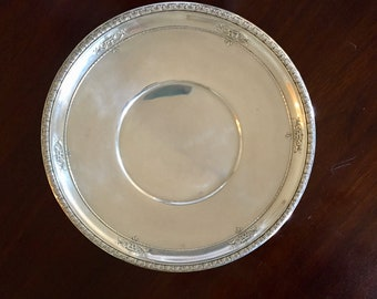 Sterling Silver Plate, Wallace Sterling Round Pastry Tray, 10 Inch Sterling Silver Sandwich Plate, Wedding Bridal Gift, Sterling Silver Gift