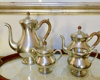Pewter Coffee Tea Service Set, 4 Piece Royal Holland Pewter Coffee Set, Excellent Condition, Mid Century Pewter Serving Set,