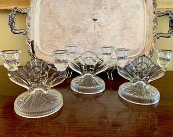 Iris Depression Glass Candlestick Holder,  Jeanette Glass Iris Herringbone 2 Light Candle Holders,  3 Available Each Sold Separately