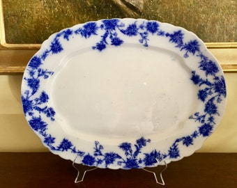 Antique Flow Blue Platter, Blue White Transferware English Meat Plater 19 Inch, W.E. Corn Pottery China England,Blue White Decor