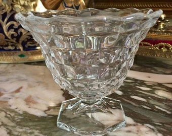 Fostoria American Clear Mayo Bowl, Footed Flared Opening, Clear Cubed Condiment Compote, Vase, Cottage Farmhouse Dining Decor