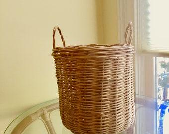 Vintage Wicker Basket with Handles, Indoor Planter Basket, Natural Wicker Storage Basket, Medium Size Basket, Wicker Waste Basket