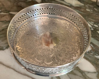 Silver Wine Coaster, Vintage English Silver Plate Wine Bottle Holder, 3.75 Inch Wine Coaster, Barware Gift