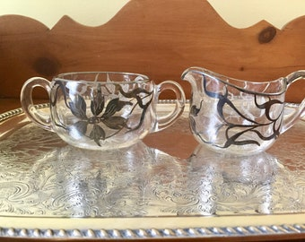 Sterling Silver Overlay Glass Creamer and Sugar Large Size,  Art Nouveau Silver Overlay Cream Sugar Set, Holiday Dining