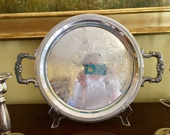 Silver Tray Round with Handles, F B Rogers Silver Plate Barware Tray, 12 Inch,  Rope Braided Rim with Engraved Scroll Design, Vanity Tray