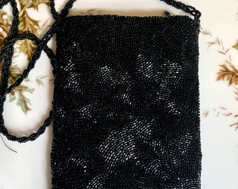 Christiana Black Beaded Evening Handbag, Small After 5 Beaded Purse, Vintage Cocktail Handbag, Wedding Attire, Gift for Her