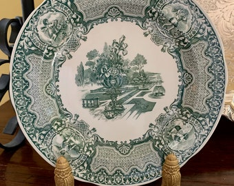 """Spode Green White Dinner Plate, Spode Archive Collection Victorian Series """"Seasons"""" Plate, English Green Transferware, English Country"""
