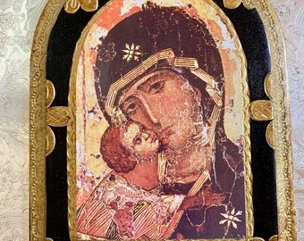 Vintage Marco Sevelli Icon Plaque, Florentine Style Gilt Madonna and Child Icon Plaque,