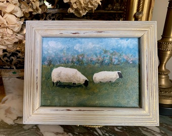 Small Sheep Painting, 5 x 7 Original Acrylic Painting Framed, Sheep Lamb Lover Gift, Easter Gift, Art Nature Lover Gift