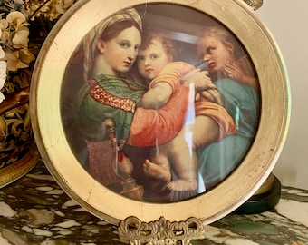 Madonna and Child Art, Round Gilded Frame, Madonna and Child Print, Religious Art, Religious Gift Idea