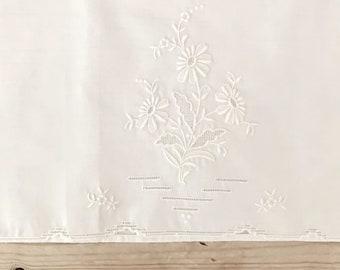 Embroidered Tea Towel, White on White Floral Design, Vintage Guest Hand Towel, Cottage Farmhouse Linens