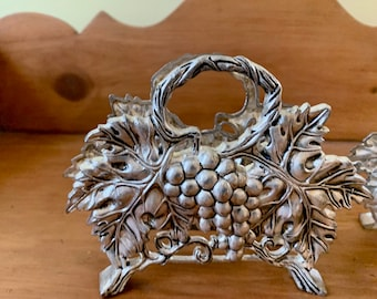 Silver Plate Grape Napkin Holder, Grape Leaf with Vines Godinger Napkin Container, 2 Available Each Sold Separately
