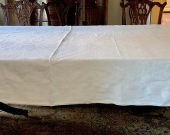 White Damask Tablecloth,  Large Reception Damask Tablecloth 66 x 120 Inches, Holiday Dining, Damask Table Linens,