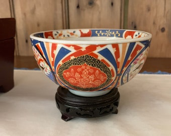 Small Imari Bowl with Stand, Vintage Imari Porcelain Bowl, Cobalt Blue Cinnabar Red, Asian Imari Decor Gift Idea