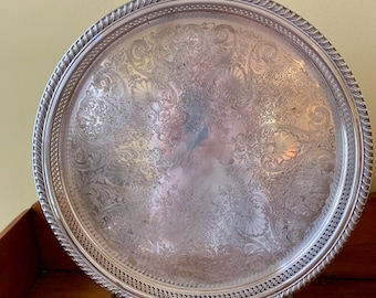 Silver Gallery Tray, Round 15 Inch Rogers Silver over Copper Tray, Chased Design, Silver Barware Tray, Silver Plate Serving Tray