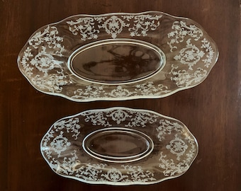 Fostoria Navarre Celery Dish Flared,  Fostoria Navarre Pickle Dish Flared, Clear Etched Blown Glass Relish Dish, Each Sold Separately